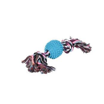 Игрушка канат-грейфер для собак FOX цветной двухузловой мяч с шипами, 30 см