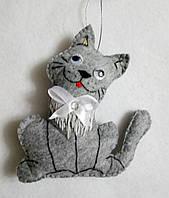 Брелок - игрушка котик , фетр, ручная работа