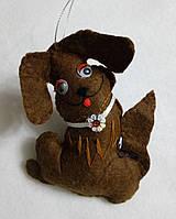Брелок - игрушка собачка, фетр, ручная работа