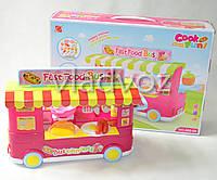 Детская кухня, плита 2 комфорки малиновая Fast food Bus на колесах