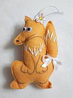 Брелок - игрушка лисичка, фетр, ручная работа