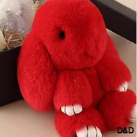 Мягкая игрушка кролик натуральный мех крвсный