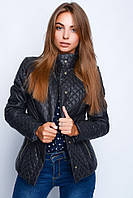 Стёганная женская куртка, чёрная (40-48)