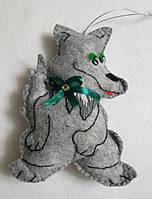 Брелок - игрушка волк, для ключей, сумок. фетр, ручная работа