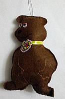 Брелок - игрушка медведь, фетр, ручная работа