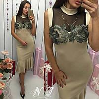 Комбинированное платье с объемными кружевными цветами 143 Норма! (НР)