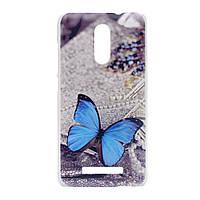 Чехол накладка для Xiaomi Redmi Note 3 пластиковый матовый, Голубая бабочка