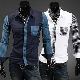 Мужская рубашка приталенная - длинный рукав