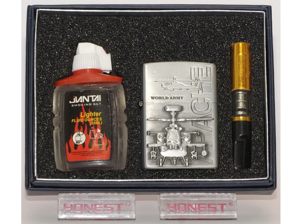 Подарочная зажигалка + мундштук + бензин.