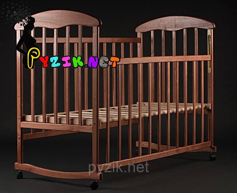 Кровать детская Наталка ясень темная (колеса, качалка, опускание борта)
