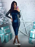 Велюровое платье с гипюром в красивых расцветках 0579 (190)