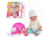 Кукла пупс 8001Беби Борн, вязанная одежда белая