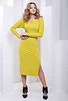Вечернее Облегающее Платье Ниже Колена Оливковое XS-XL