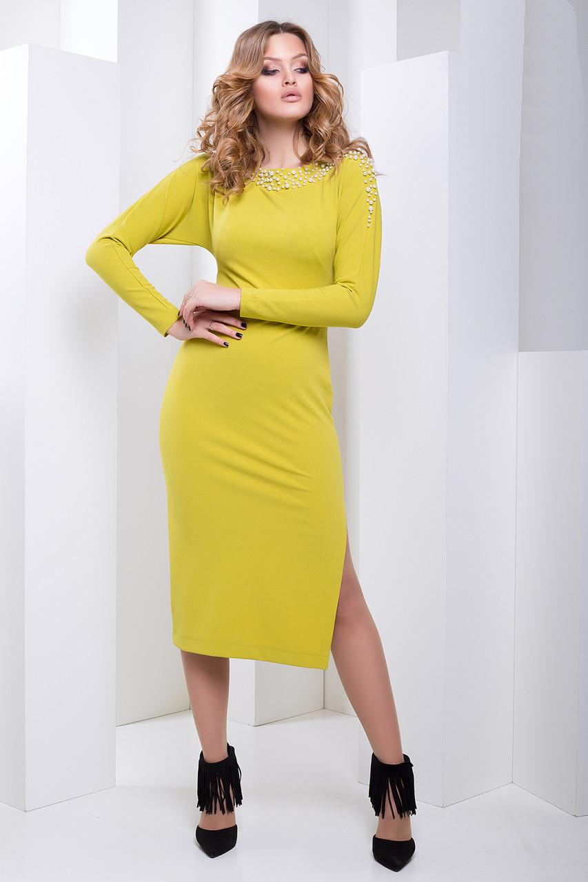 aa201668a3d88eb Вечернее Облегающее Платье Ниже Колена Оливковое XS-М - Ukraine In Trend -  100%