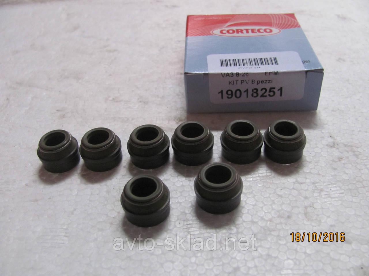 Сальники клапанов 2101-2108, 1102, 1103, 1105, Сенс,406 Corteco комплект 8шт
