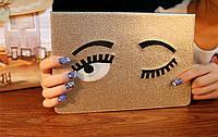 Чехол на  айпад мини 4 золотой с вышивкой глазами и крышкой