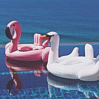 Фламинго надувной для бассейна детский с сиденьем