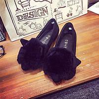 Тапочки женские милые  черные кролики с мехом