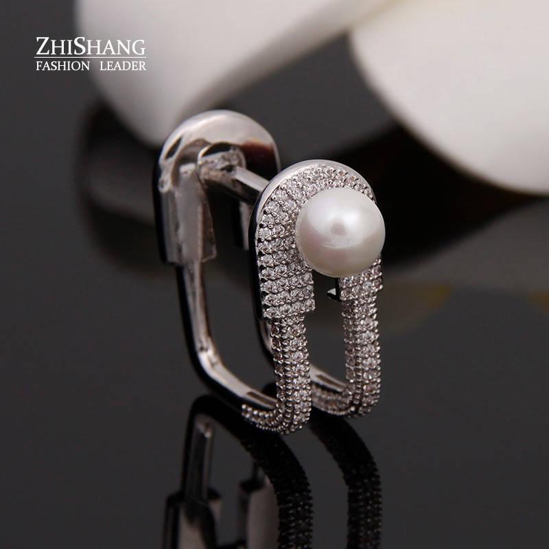 Женское стильное кольцо булавка с жемугом