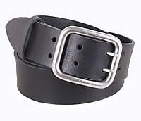 Мужской кожаный ремень под джинсы с двухшпеньковой пряжкой черный 4 см