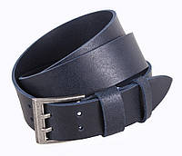 Мужской кожаный ремень под джинсы с двухшпеньковой пряжкой синий 4 см