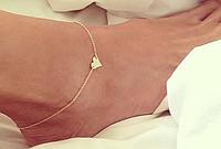 Модный женский браслет на ногу, цепочка с сердечком, цвет - золото