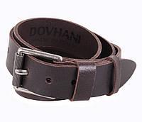 Мужской кожаный ремень джинсовый коричневый 4 см