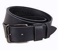 Кожаный ремень под джинсы для мужчин черный 4 см