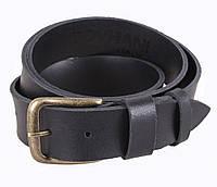 Кожаный ремень под джинсы для мужчин черный 4 см с пряжкой под латунь