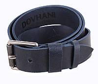 Кожаный ремень под джинсы для мужчин синий 4 см