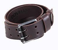 Кожаный ремень под джинсы для мужчин коричневый с двухшпеньковой пряжкой 4,5 см