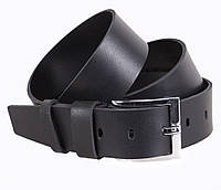 Кожаный ремень под джинсы для мужчин черный 4,5 см