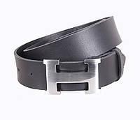 Кожаный ремень Hermes джинсовый для мужчин черный 4 см (не оригинал)
