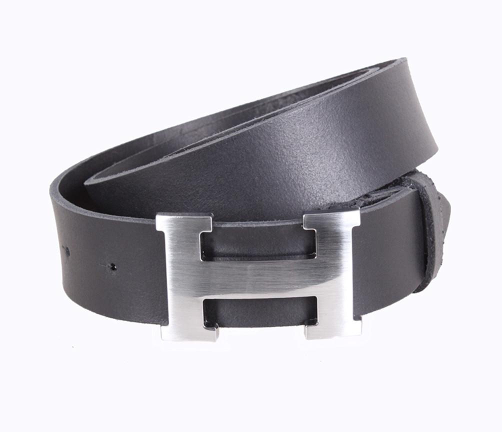9d78e338cbba Кожаный ремень Hermes джинсовый для мужчин черный 4 см (не оригинал) -  АксМаркет в