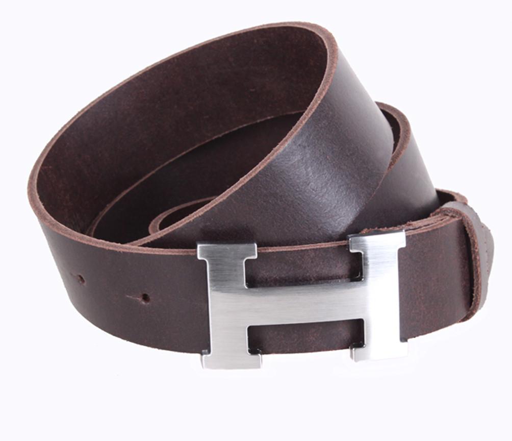 2650a4414610 Кожаный ремень Hermes джинсовый для мужчин коричневый 4 см (не оригинал) -  АксМаркет в