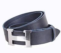 Кожаный ремень Hermes джинсовый для мужчин синий 4 см  (не оригинал)