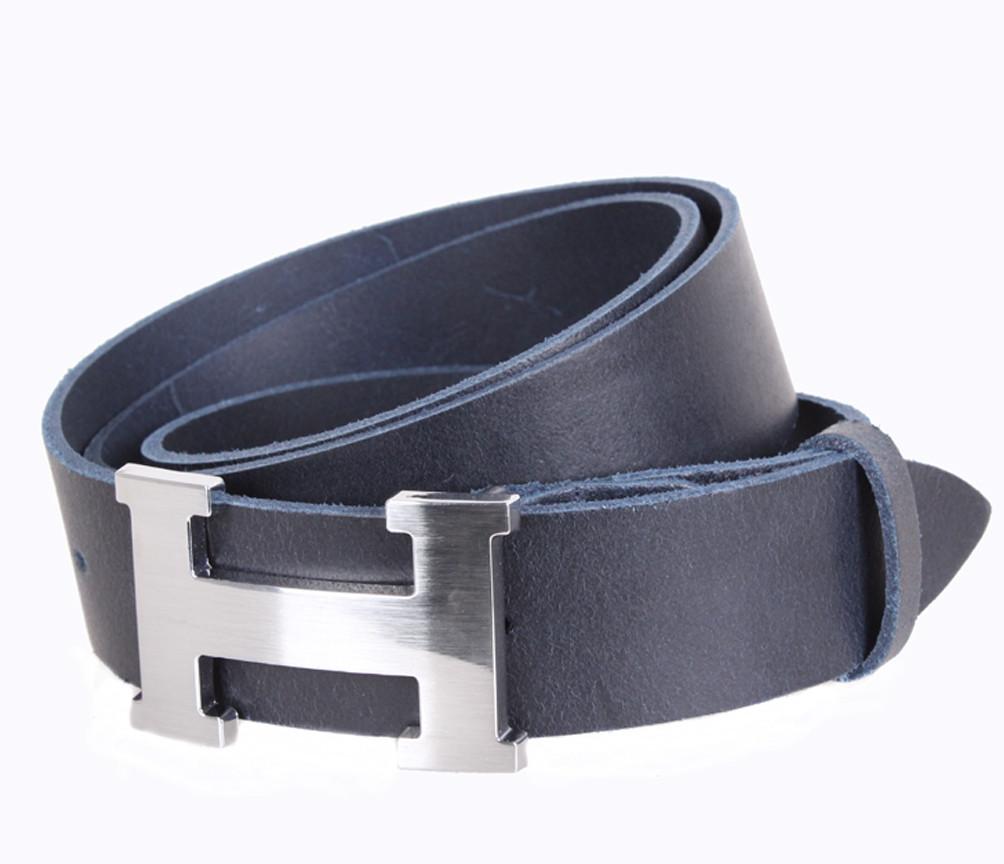 ee16cc2356fc Кожаный ремень Hermes джинсовый для мужчин синий 4 см (не оригинал) - АксМаркет  в