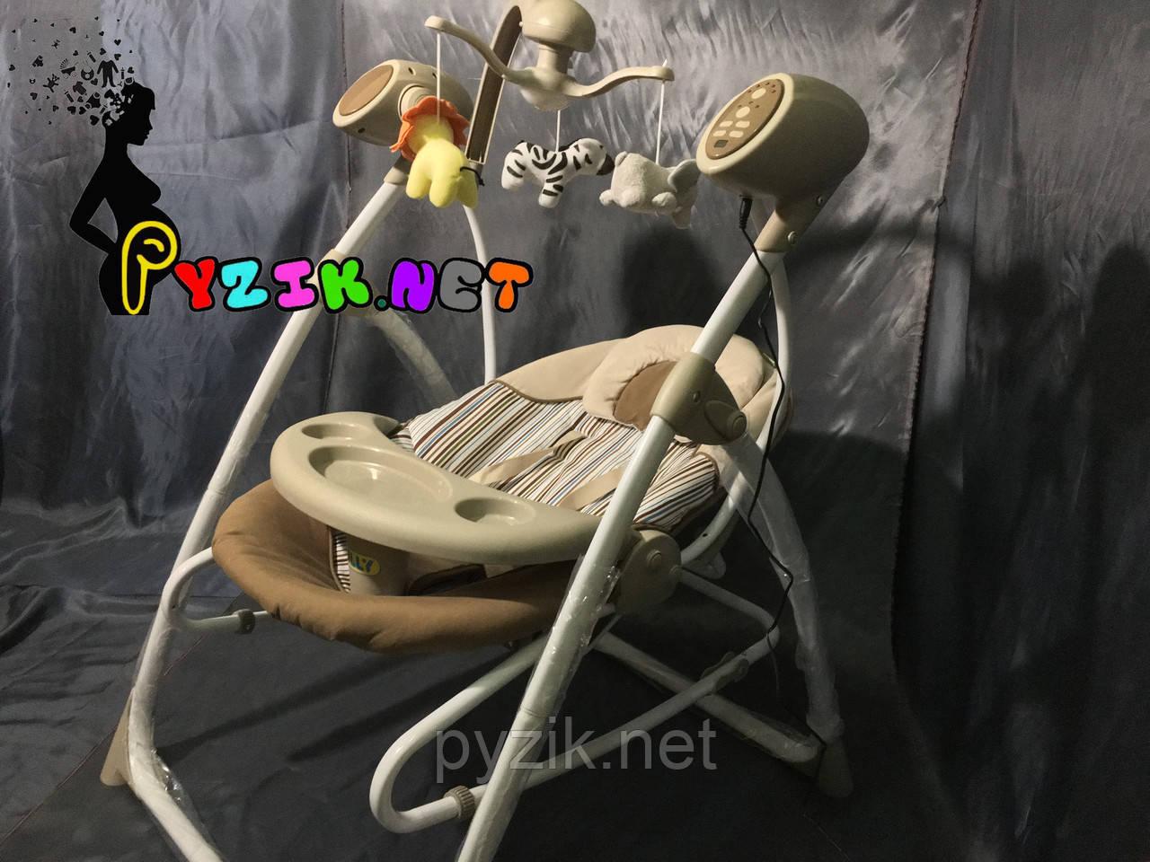 Колыбель-качели 3 в 1 (качель-шезлонг-стульчик для кормления) Carrello коричневый