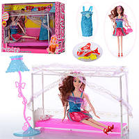 Мебель 829-235 (24шт) кровать 28см, кукла 28см,торшер, наряд, обувь,сумочка, в кор-ке, 35-26-9см