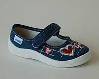 Детские текстильные тапочки с кожаной ортопедической стелькой р.24-29 для дома, улицы,садик Алина джинс сердце