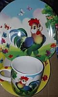Детский набор посуды с петушком