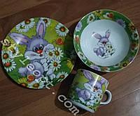 Детский набор посуды из керамики Зайчик