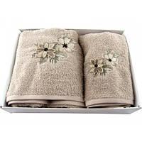 Набор полотенец Saheser 3д цветы вышивка махра 50х90, 70х140