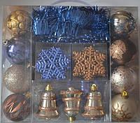 Набор елочных игрушек 62 шт: шары, колокольчики, сосульки, снежинки, мишура