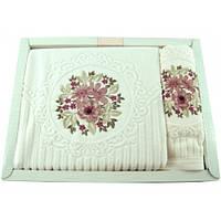 Набор полотенец Saheser 3д цветы вышивка микрокоттон 50х90, 70х140