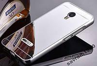 Металлический бампер Mirror с зеркальным вставкой для Meizu Pro 6 (серый)