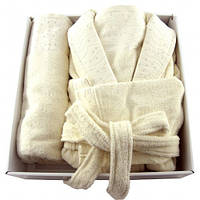 Набор Soft kiss махровый халат S/M + полотенца  50х90, 70х140