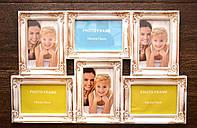 Фоторамка-коллаж, винтажная,  мультирамка, настенная, цвет белый с золотистым покрытием, на 6 фото