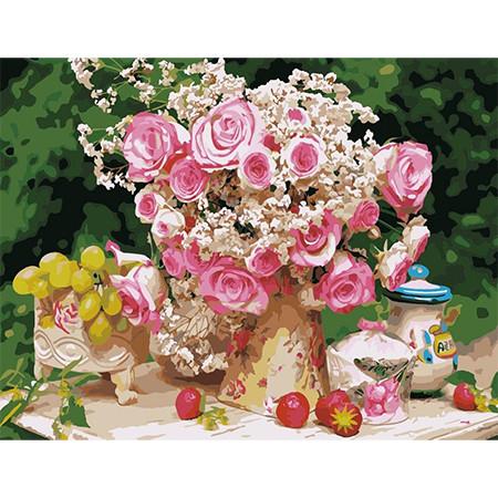 Картина по номерам Большой букет из чайных роз