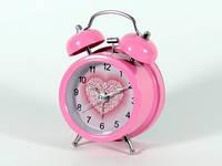 Розовый будильник настольный Серце